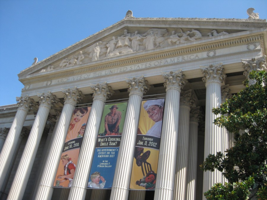 The National Archives. Since I wasn't allowed to take photos inside, we have to make do with our memories and a photo of the exterior. Photo: Jenny Williams