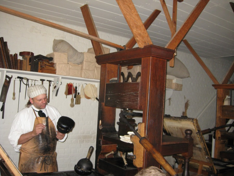 The Printing Press in Colonial Williamsburg. We learned much about many Colonial trades that week. Photo: Jenny Williams